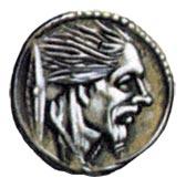 Монета из франции, на которой изображен кельт с намоченными в известке волосами.