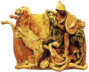 Изображение греческого и кельтского всадников