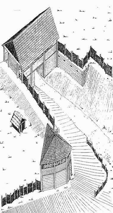 Последняя реконструкция главных ворот оппидума, около 50 до н.э. Аксонометрия